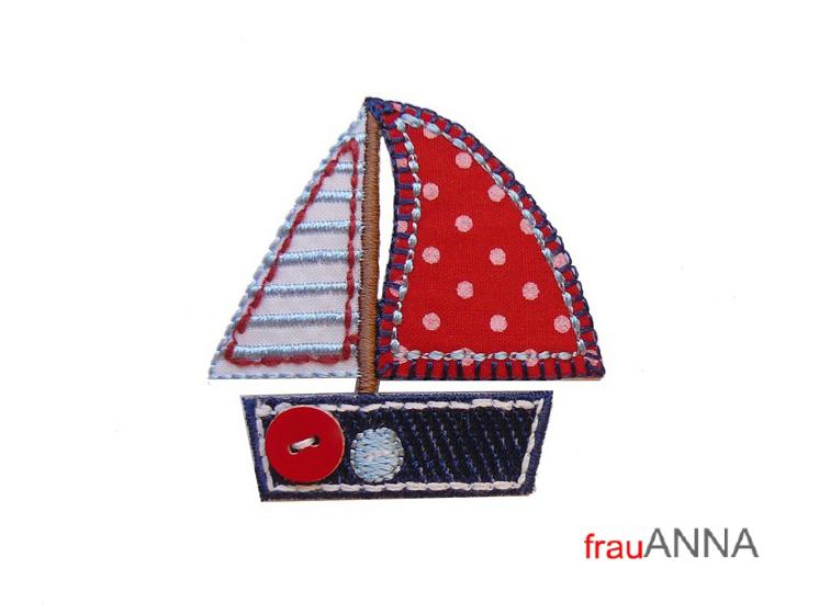 Segelboot applikation  Applikation Segelschiff rot-blau-weiß - gesticktes Segelboot Ahoi
