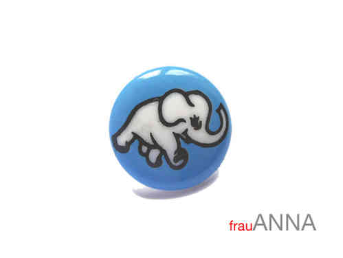 Kinderknopf Elefant 15mm blau