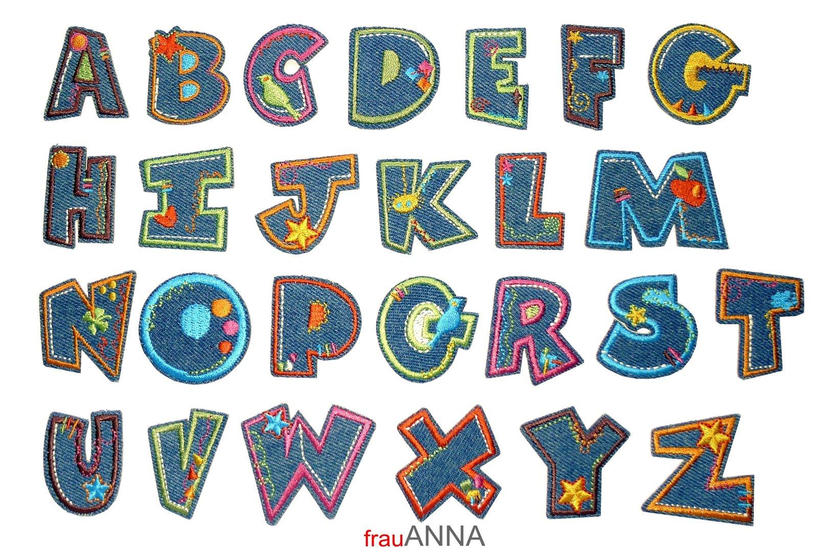 Applikation Jeans-Buchstabe - gesticktes Alphabet zum